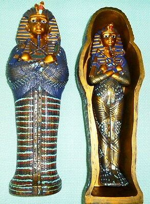 Egyptian King Tut Sarcophagus Coffin With Statue Figurine