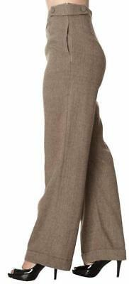 Copy of Banned 40s Lindy Jive Lady Luck Brown Herringbone Swing Trousers