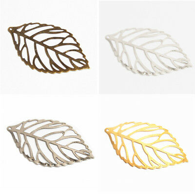 "Pkg 10 SCROLLED LEAVES FILIGREES 1-3/4"" x 1"" (44 x 26mm) Setting Finding (#B970)"