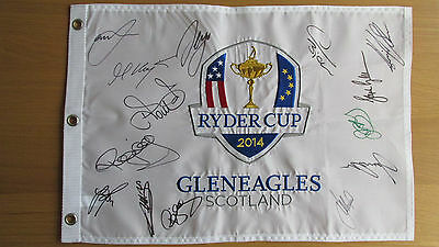 Ryder Cup 2014 Flag Pin signed by The Team McIlroy Garcia Kaymer COA/Proof
