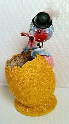 ANTIQUE GERMAN BOBBLE HEAD DUCK and EGG CANDY CONTAINER