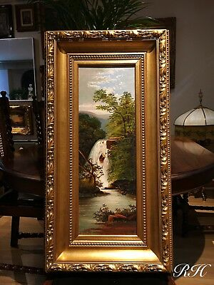 Antique 19th C Oil Painting Canvas Landscape Waterfall Quality Wooden Gilt Frame
