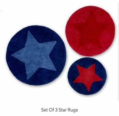 Next Boy's 100 % Cotton Set of 3 Star rugs from next 70,60 & 45cm