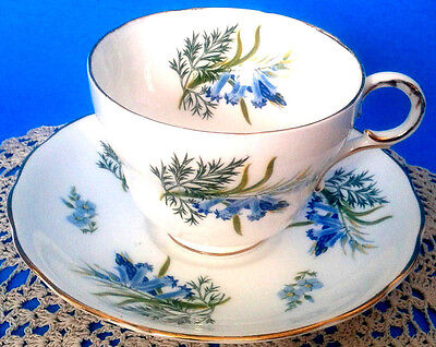 Melba Angels Trumpet Teacup & Saucer Blue Trumpet Flower Tea Cup & Saucer c.1940