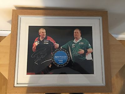 Phil Taylor and Raymond Van Barneveld hand signed Authenticated framed picture