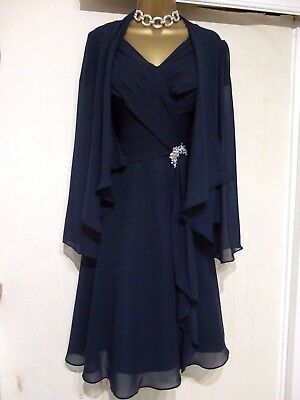 Mother Of The Bride Groom Dress Suit Wedding Outfit Size 14 Dark Navy