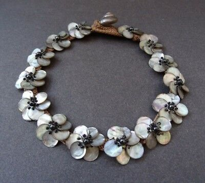 True Vintage Handmade Mother of Pearl Shell Grey Flower Beads Choker Necklace