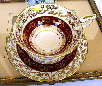 Royal Stafford Red and Gold Chintz Fancy Teacup & Saucer Burgundy Tea Cup Set