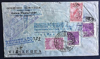 Cover Brazil 1933 registered mail via Condor and Graf Zeppelin to Switzerland