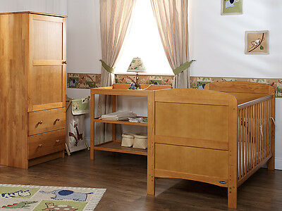 Grace 3 Piece Room Set Country Pine Nursery Furniture Wardrobe Changer Cotbed