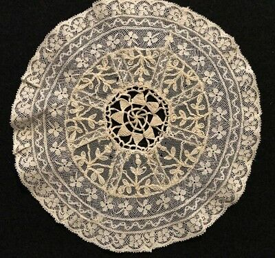 "Antique Hand Made Beautiful Normandy Lace Exceptional Doily, 6 1/2"" Diameter"