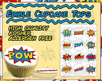 Comic Book cupcake toppers Superhero words Edible image sugar actions picture