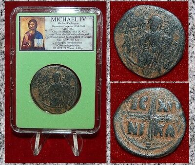 Ancient Byzantine Empire Coin MICHAEL IV JESUS CHRIST Holding Gospel Bronze