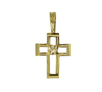 14K Real Yellow Gold Very Small One Row Line Cross Charm Pendant Cubic Zirconia