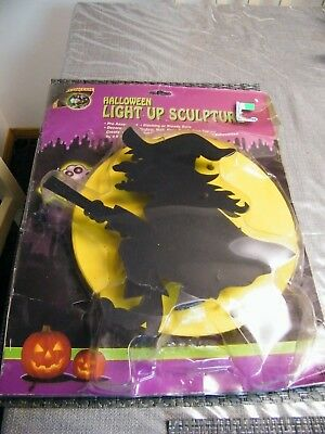 Vintage Lighted Blow Mold Moon Witch on Broom &  Lite Halloween Rare