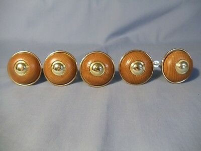 Rare Unique Vintage Set Of 5 Oak & Brass Drawer Pulls Cabinet Knobs 1 1/2 Inch