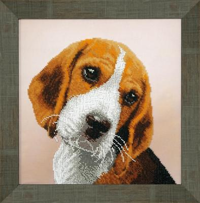 Beagle DIY Beadpoint kit Beading Embroidery Seed Beads on printed tapestry