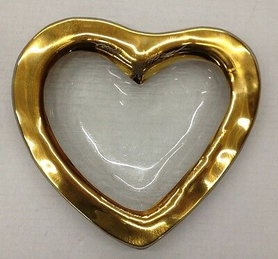 Vintage Annieglass Gold Heart Shaped Dish Bowl Signed 1997