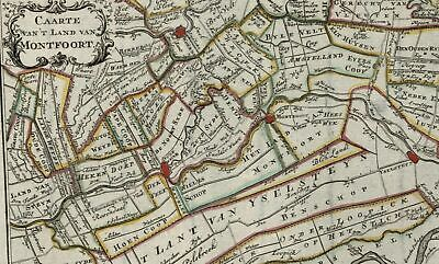 Montfoort Utrecht Holland Netherlands c.1770 Gravius old antique color map