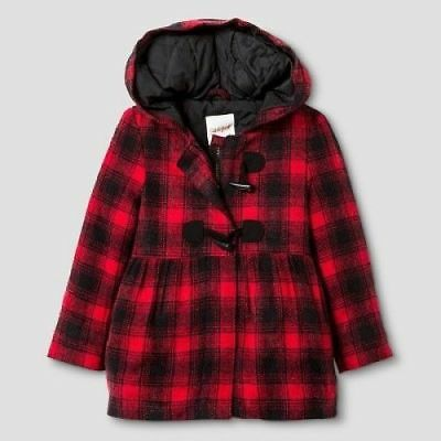 Toddler Girls Cat & Jack Outerwear Hooded Coat Red/Black Plaid 5T -NWOT