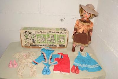 50s Vtg DELUXE READING Companion LITTLE MISS FASHION DOLL +Clothing ORIGINAL BOX