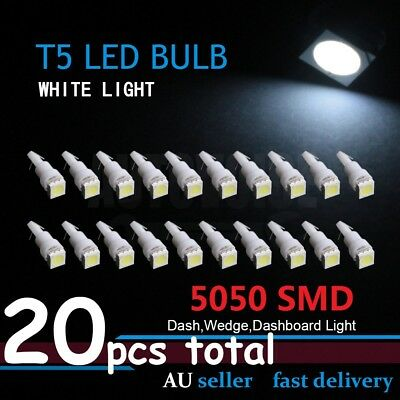 20pcs 5050 SMD Car T5 LED Dash Wedge Dashboard Speedometer Light Super White OZ