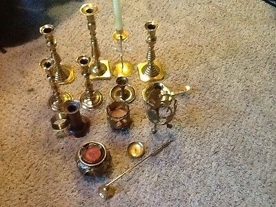 Vintage Lot Of 13 Brass Candlesticks Candle Holders -Wedding Event snuffer