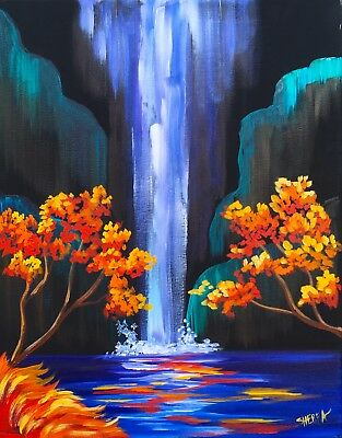 Autumn Aloha waterfall acrylic painting /photo Canvas Painting wall choose size