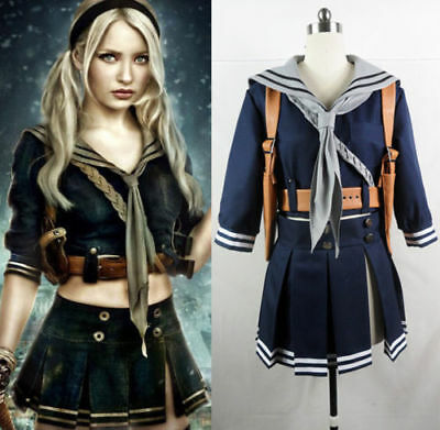 New Sucker Punch Baby Doll Costume Emily Cosplay Party Uniform Sailor Skirt:ETC
