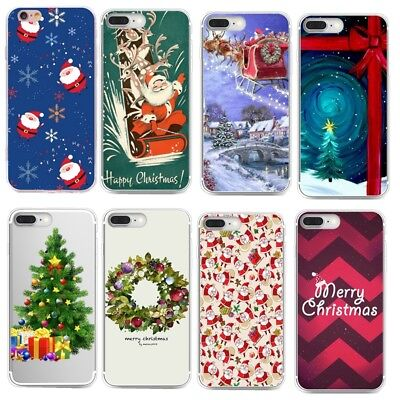 Rubber TPU Silicone Christmas Pattern Phone Case Cover For iPhone 7 8Plus Huawei