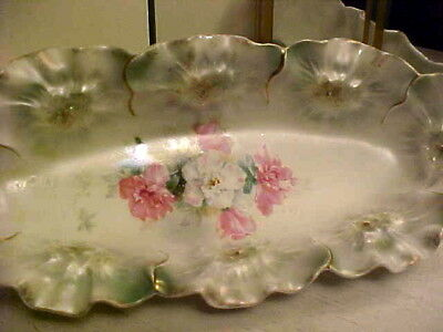 "Rare Antique 1890 RS Prussia 9-1/2"" Relish Tray w Sunflower Mold - Red Mark"