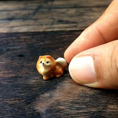 Dollhouse Miniature Pomeranian Dog Ceramic Tiny Figurine Sculpture Hand Painted