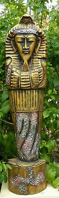 97cm EGYPTIAN GOLD PHARAOH HAND CARVED WOODEN STATUE~Bali~Garden~Egypt~Figurine