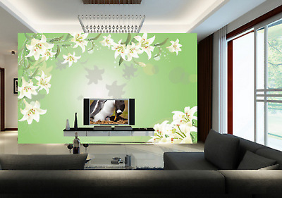 3D Green Lily Style 73 Wall Paper Murals Wall Print Wall Wallpaper Mural AU Kyra