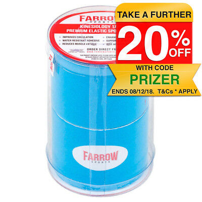 Farrow Sports 2 Rolls Blue Kinesiology Strapping Tape 50mm x 5m Muscle Support