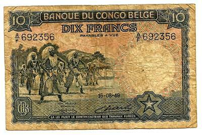 Belgian Congo banknote. Scarce 10 francs 15-08-49.