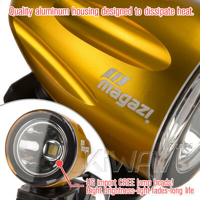 mini LED lampe spot feu de route d'or 22-25mm diameter bar pour Café racer