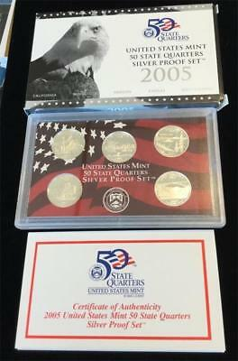 2005-S  State  Quarters  SILVER Proof Set 5 piece set NIB with COA (BC1)
