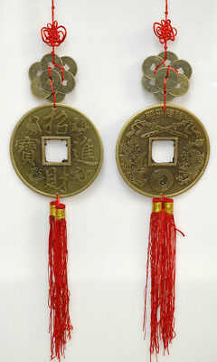 Feng Shui Large Wealth Coins with Tassels for Protection