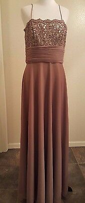 Cachet Evening Dress Gown Mother of Bride Chocolate Mocha Brown Size 6 Medium