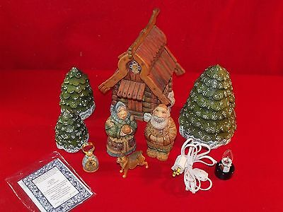G. Debrekht 2003 Lighted House Frosted Trees Gingerbread Man Woman Dog Christmas