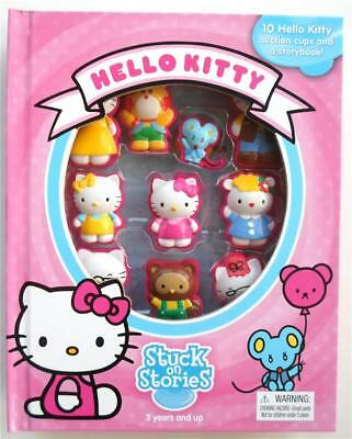 Hello Kitty Stuck On Stories Book Activity 12pc Suction Cup Figurines Playmat
