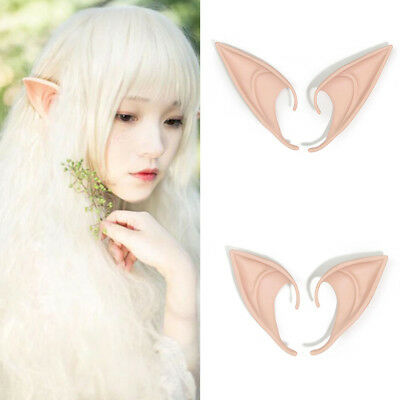 1 Pair Latex Fairy Elf Soft Pointed Ears Cosplay Accessories Larp For Halloween
