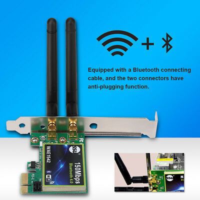 2.4+5G Dual-Band 150M Bluetooth 4.0 Wireless PCI-E Card Adapter For PC Laptop BT