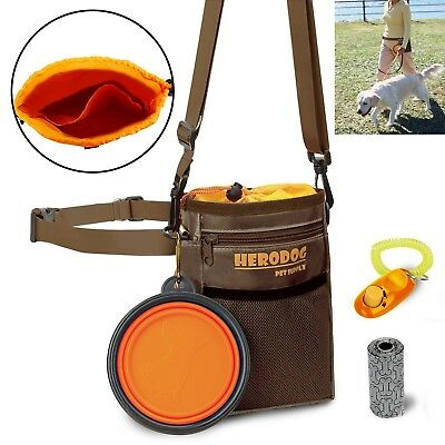 Dog Training Pouch Treat Bag Dual Compartments Insulated With Poo Collapsible