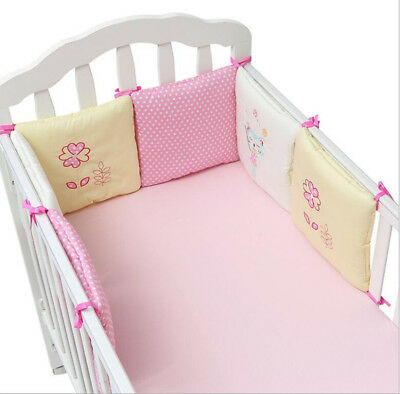 6 xBaby Infant Cot Crib Bumper Safety Protector Toddler Nursery Bedding Set Pink
