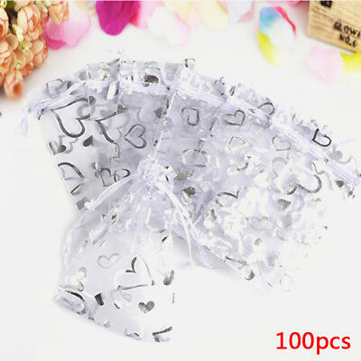 100x Large Organza Favour Pouches Gift Bag Voile Net Bags Drawstring Love Heart