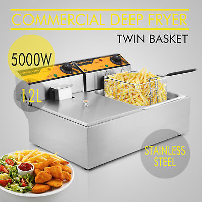 VEVOR 2*6L Stainless Steel Commercial Double Tank Deep Fat Fryer Chip 5000W