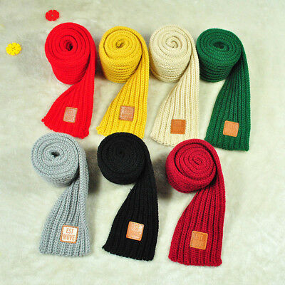 Cute Autumn Winter Kids Boys Girls Solid Scarf Warm Knitted Scarves NEW