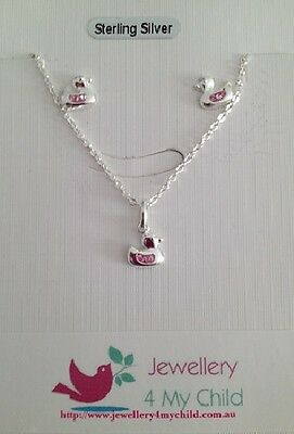 Girls 925 St/silver 'duck' Pink Crystal Pendant/stud Gift Set